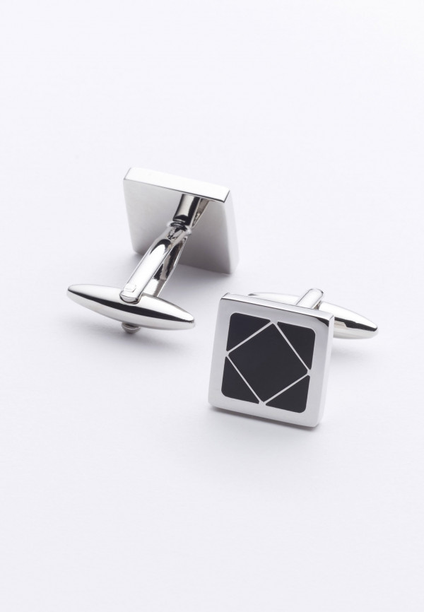 Black Square Chrome Cufflinks