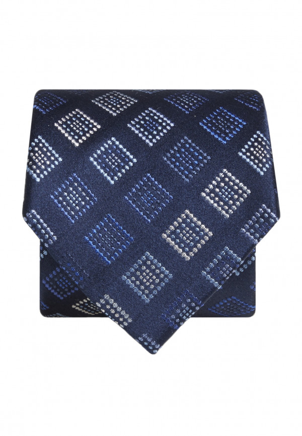 Blue with Blue and Silver Square Silk Tie