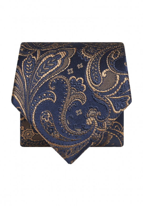 Blue with Gold Paisley Silk Tie