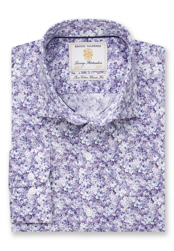 Tailored Fit Business Casual Lavender Floral Print  Shirt