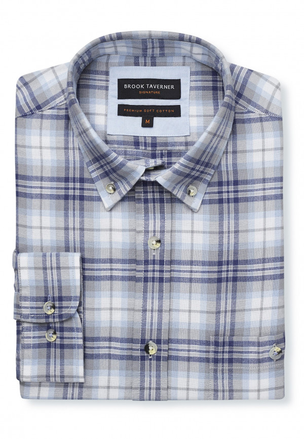 Long Sleeve Navy, Grey And Sky Check Soft Touch Oxford Button Down Collar Shirt