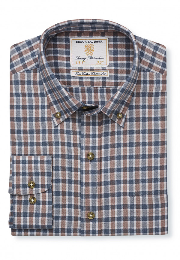"33.5"" Sleeve Mocca And Charcoal Check Single Cuff Shirt"