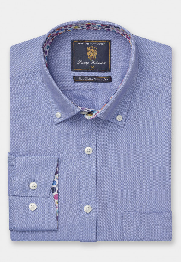 Long Sleeve Classic Fit Blue Oxford with Coloured Trim Shirt