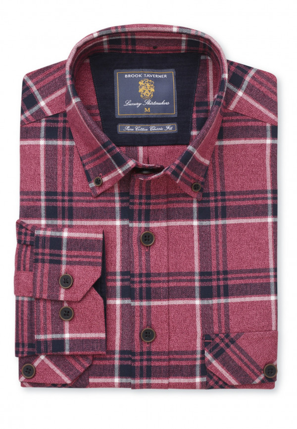 Berry and Charcoal Melange Check Shirt