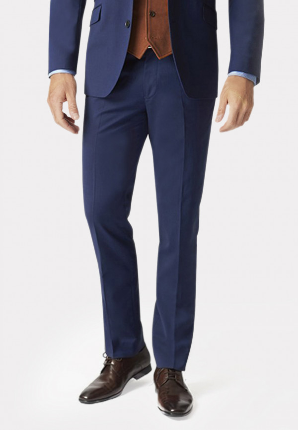Blue Cassino Tailored Fit Washable Suit Trousers