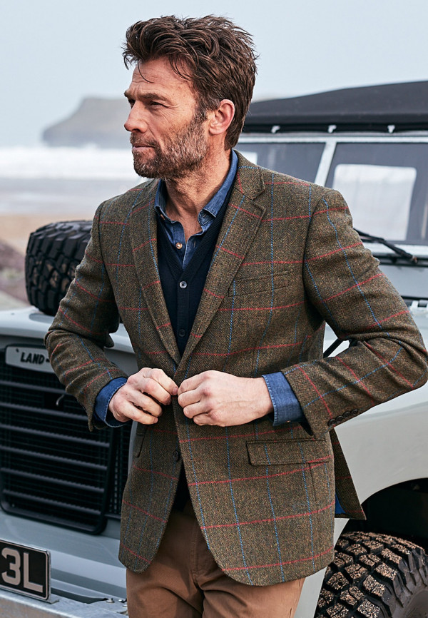 Camberley Navy 100% Wool Check Jacket
