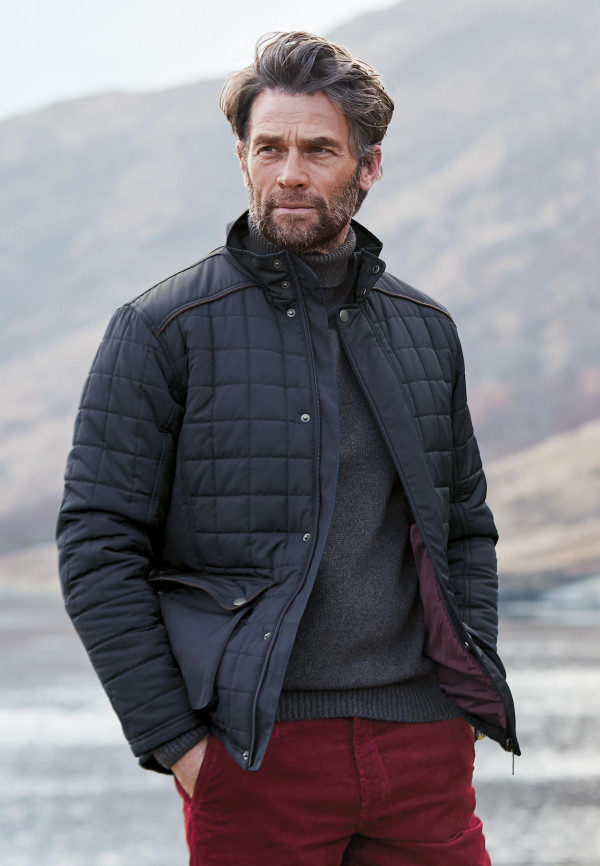 Lane Navy Quilted Casual Coat
