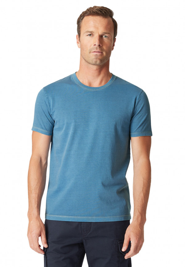 Ryton Plain Denim-Blue Garment Washed T-Shirt