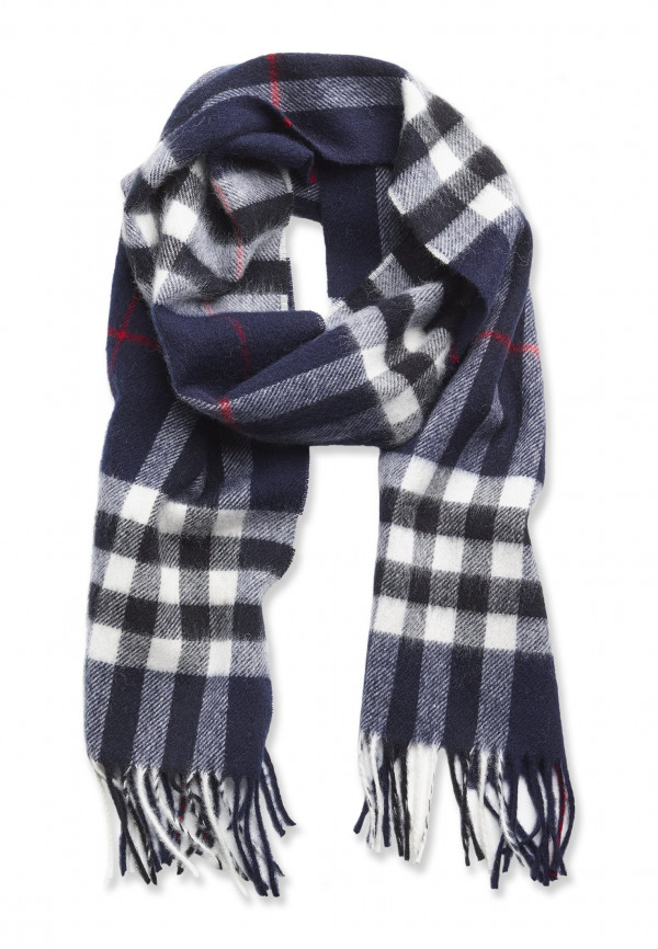 Navy Check with Red Stripe 100% Lambswool Scarf