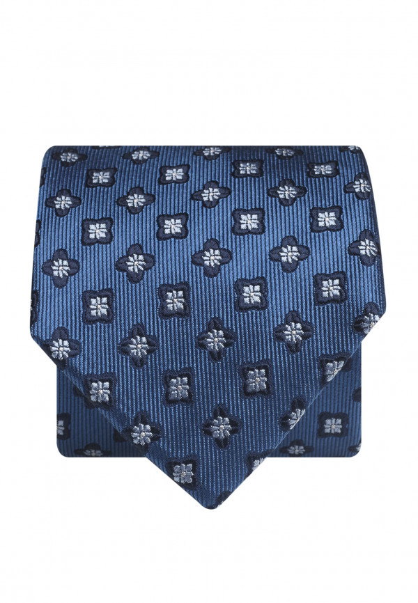 Blue With Navy Flower 100% Silk Tie