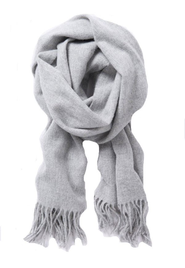 Plain Silver Grey 100% Lambswool Scarf