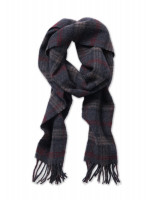 Charcoal, Burgundy And Brown Check 100% Lambswool Scarf