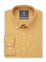 Classic and Tailored Fit Lemon Garment Washed Twill Shirt