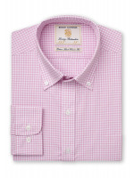 Classic Fit Pink Gingham Single Cuff Shirt