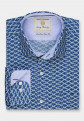 Blue with Snow Leopard Print Business Casual Shirt