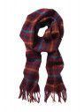 Wine, Blue, Orange And Navy Check 100% Lambswool Scarf