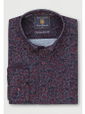 Classic and Tailored Fit Wine and Navy Floral Print Velvet Touch Needle Cord Shirt