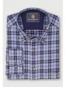 Blue with Corn and Navy Overcheck Lightly Brushed Cotton and Merino Wool Shirt