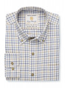 Navy, Blue And Beige Check Single Cuff Shirt