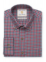 "33.5"" Sleeve Wine And Charcoal Check Single Cuff Shirt"