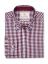 Tailored Fit Wine and Blue Gingham Shirt