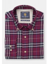 Wine with Navy and Blue Bold Plaid Check Shirt