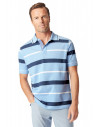 Devizes Sky Blue with Navy and White Hoop Soft Handle Piqué Polo Shirt
