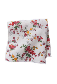 White With Red Rose Cotton Pocket Square