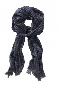Navy Check Lightweight Bamboo Scarf