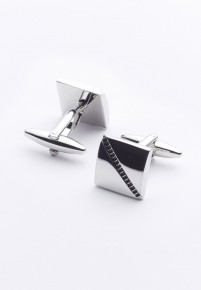 Black Diagonal Stripe Chrome Cufflinks