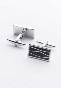 Black Pattern Chrome Cufflinks