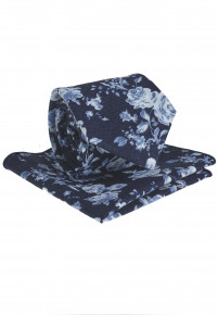 Navy And Blue Floral Pattern Tie & Hanky