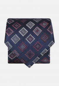 Blue with Red,White and Pink Square Silk Tie