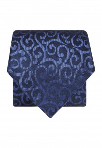 Blue with Mid Blue Pattern Silk Tie