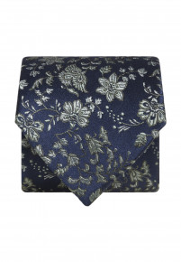 Blue with Green Flower Silk Tie