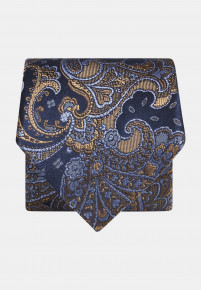 Blue with Gold and Blue Paisley Silk Tie
