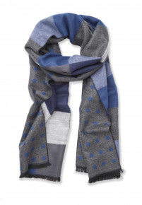 Blue, Navy,Grey Square Block Design Scarf