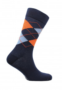 Falmouth Navy with Orange and Blue Diamond Design Sock
