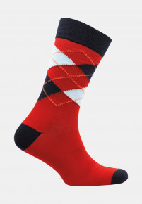 Falmouth Red with Navy and Sky Blue Diamond Design Sock