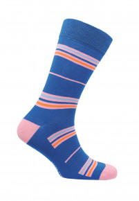 Coverack Royal Blue with Orange Blue and Pink Fine Stripe Sock