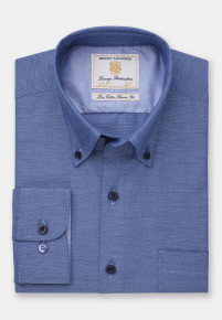 Classic and Tailored Fit Non-Iron Business Casual Navy Dobby Shirt