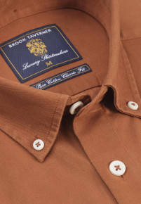 Classic and Tailored Fit Bronze Garment Washed Twill Shirt