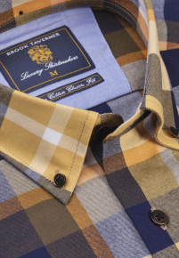 Classic and Tailored Fit Corn Navy Mustard and Winter Stone Bold Plaid Check Soft Handle Shirt