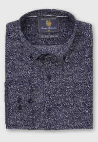 Classic and Tailored Fit Blue Navy and Winter Stone Floral Print Velvet Touch Needle Cord Shirt