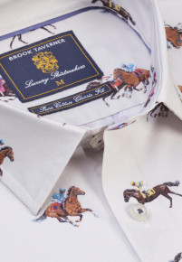 Winter White with Race Horse Print Shirt