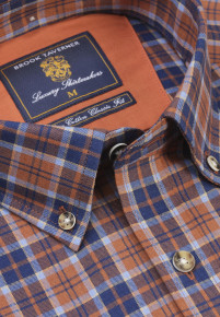 Bronze with Navy and Sky Check Lightly Brushed Cotton and Merino Wool Shirt