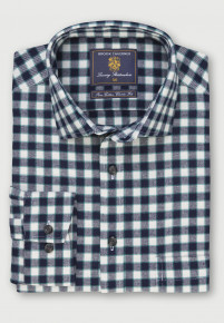 Navy and Winter White with Fern Overcheck Brushed Cotton Shirt