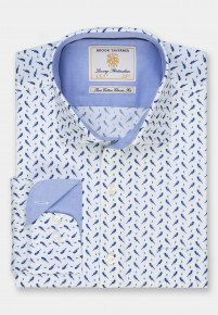 White with Blue Bird Print Business Casual Shirt
