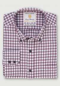 Wine Melange Check Lightly Brushed Classic and Tailored Fit Business Casual Shirt