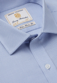Single And Double Cuff Non-Iron Blue Dobby Check 100% Cotton Shirt
